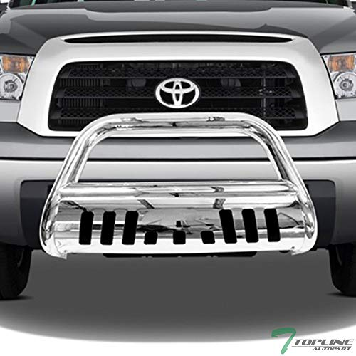 Topline Autopart Polished Stainless Steel Bull Bar Brush Push Front Bumper Grill Grille Guard With Skid Plate For 07-18 Toyota Tundra ; 08-17 Sequoia