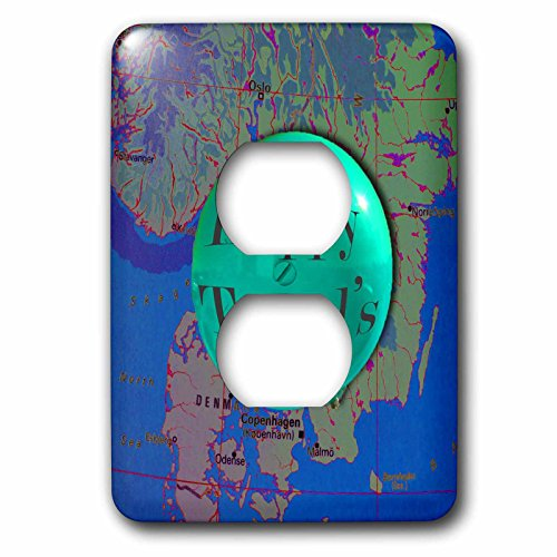 3dRose Jos Fauxtographee- Happy Travels Map - Happy Travel written in a balloon on a map in mint and blue - Light Switch Covers - 2 plug outlet cover (lsp_263399_6) by 3dRose