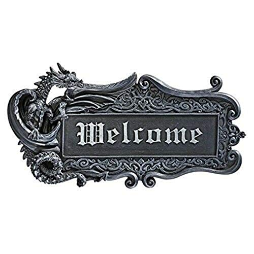 Ky & Co YesKela Medieval Gothic Dragon Welcome Wall Plaque 14.75
