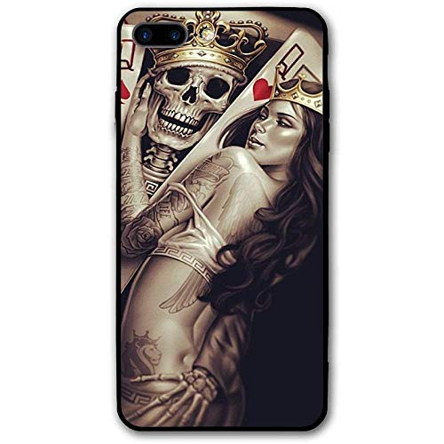 CHUFZSD King Queen Crown Poker iPhone 7/8 Plus Case Soft Flexible TPU Anti Scratch Shock-Proof Protective Shell Compatible Phone Case Cover (5.5 -