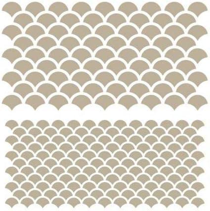12x12 Medidas internas dise/ño 10,7 x 10,7cm TODO-STENCIL Stencil Mini Deco Fondo 096 Escamas Medidas exteriores