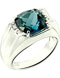 Sterling Silver 925 Statement Ring Genuine Gemstone Cushion 10 mm with Rhodium-Plated Finish