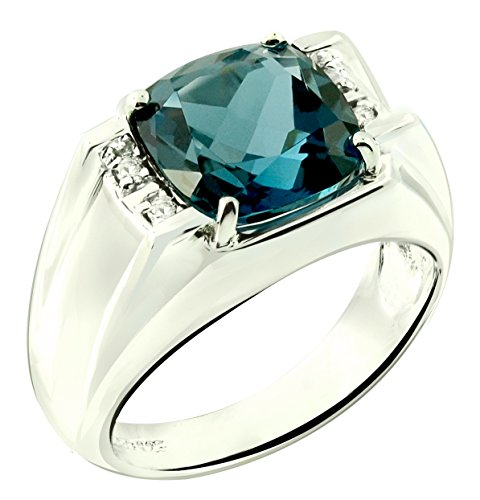 RB Gems Sterling Silver 925 STATEMENT Ring GENUINE GEMSTONE Cushion 10 mm with Rhodium-Plated Finish (8, london-blue-topaz) by RB Gems