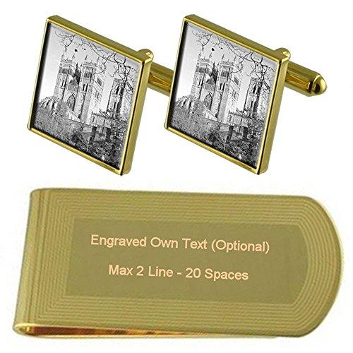 Clip Cufflinks Engraved Durham Gold Set Money Gift tone Cathedral gfSqTwUW