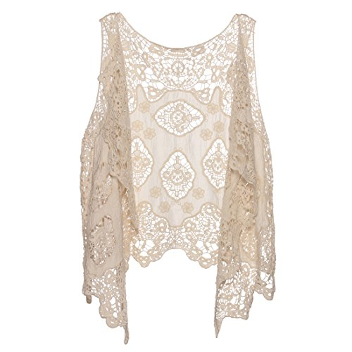 Butterfly And Lace Shirt - jastie Open Stitch Cardigan Boho Hippie Crochet Vest (Beige)