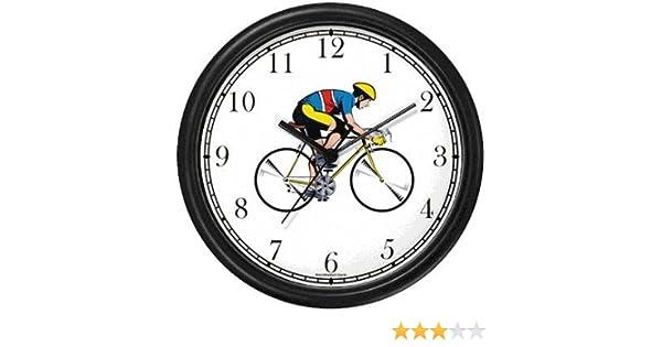 Ciclista ciclismo o ciclismo reloj de pared de relojes WatchBuddy (marco negro): Amazon.es: Hogar