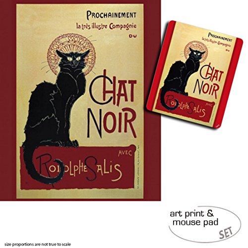 Set Regalo: 1 Póster Impresión Artística (50x40 + cm) + (50x40 1 Alfombrilla para Ratón (23x19 cm) - Theophile Alexandre Steinlen, Chat Negro abac62