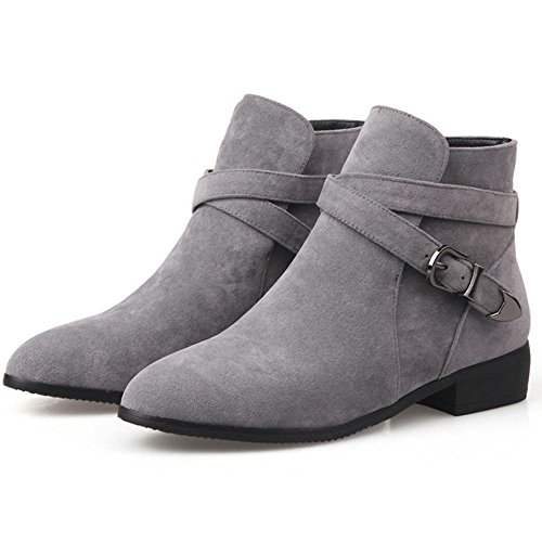 COOLCEPT Women's Fashion Flat Ankle Boots Gray 8iM4VO63