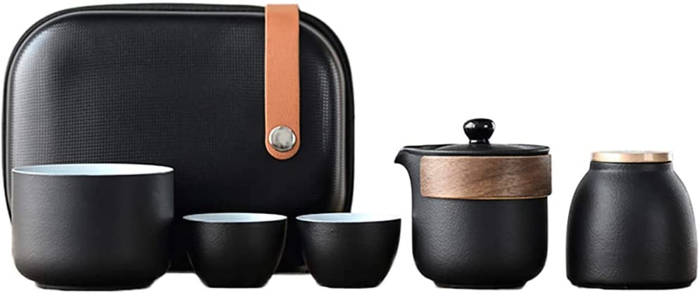 Chinese Tea Set, Ceramic Tea Cup Set, Wood Handle Tea Pot, Black Glaze, with Tea Caddy and Portable Bag