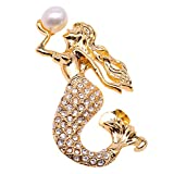 JYX Fine Mermaid Brooch 9mm White Freshwater Pearl Brooch Pin