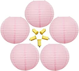 Neo LOONS 5 Pack 8 Inch Pink Round Chinese Japanese Paper Lanterns Metal Framed Hanging