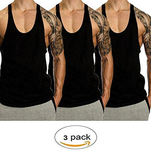 Cotton Stringer Tank Top - InleaderStyle Men Gym Bodybuilding Blank Stringer Cotton Tank Top Vest(3 Pack)-BK+BK+BK-M