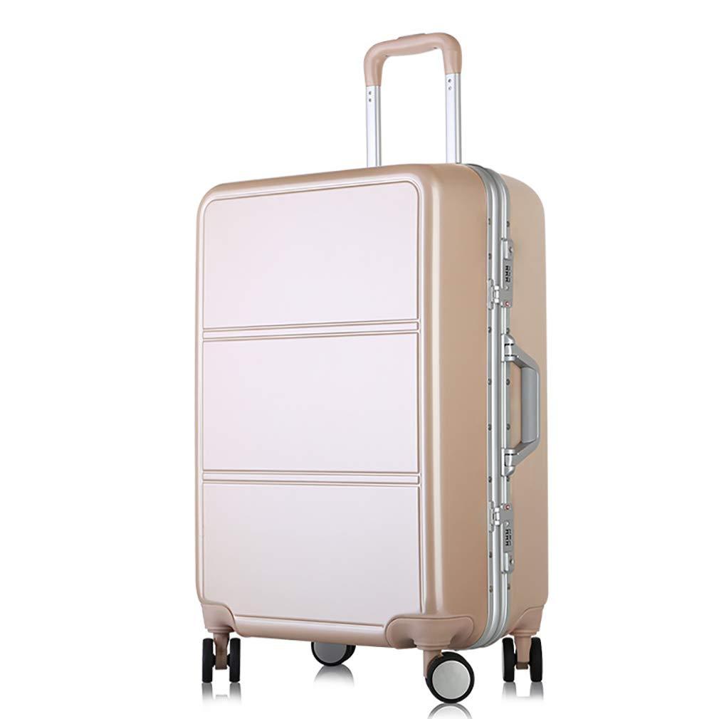 スタイリッシュな荷物、シャーシに搭乗するユニバーサルホイールのパスワード、超軽量のアルミフレームトロリーケース (色 : ローズゴールド, サイズ : 24) B07VHSMT7R ローズゴールド 24