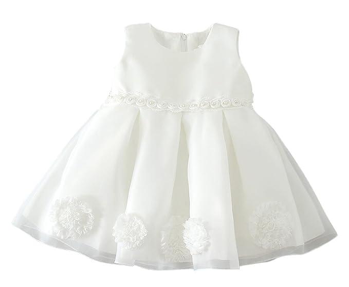 7d0dd15cece9 La Vogue Vestido Corto con Encaje Flor de Fiesta Ceremonia para Bebé ...