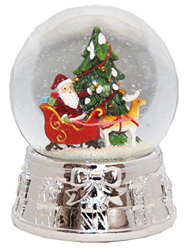 20075 Snow globe Christmas Tree Santa Silver Base music box, 5.5 inch height