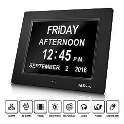 Desk Clock, FiBiSonic Large Digital Frame Wall Hanging Black Alarm Clock& Alarms, Music&Photo Player Easy Setup & Medicine Remind Display for Elderly People, Good Gift for Mom&dad