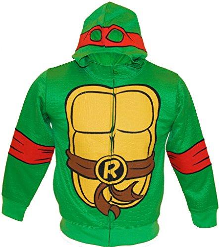 [Teenage Mutant Ninja Turtles RAPH Reptilian Print Costume Hoodie (Boys L-10/12)] (Raphael Kids Costumes Hoodie)