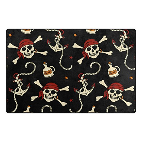 WOZO Pirate Star Skull Anchor Area Rug Rugs Non-Slip Floor Mat Doormats Living Room Bedroom 31 x 20 inches