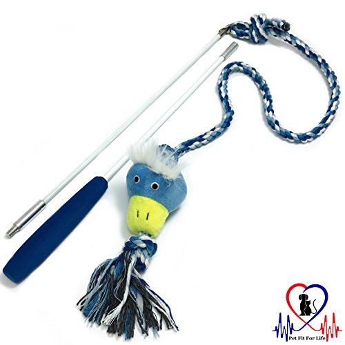 (Pet Fit For Life Plush Tough and Durable Squeaky Dog/Puppy Wand Rope Toy - Duck)