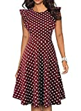 YATHON Women's Classic Retro Polka Dot Dress Elegant 50 s Fit and Flare Cute Ruffle Juniors Casual Summer Homecoming Wedding Guest Dresses (L, YT001-Wine Red Dot)
