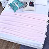 Znzbzt Flannel blankets quilts dorm students extra thick blankets winter coral fleece bed pure color blanket ,127cmx178cm, pink Barbie powder 320g thick