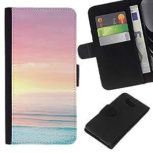 KLONGSHOP // Tirón de la caja Cartera de cuero con ranuras para tarjetas - Puesta del sol rosada del cielo Paisaje Soleado Naturaleza - Samsung ALPHA G850 //