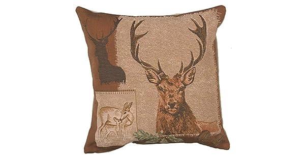Amazon.com: Tela de Jacquard francés tapiz, ciervo Doe y la ...