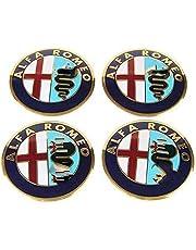 4 STKS Auto Hub Center Caps voor Alfa Romeo Stelvio 147 159 Giulietta Mito Giulia 56.5mm, waterdichte Stofdichte Wiel Decoratie Cover, Wiel Center met Auto Logo Embleem Sticker Accessoires