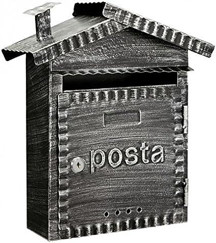 Domus 2202 - Buzón Hierro Forjado, Negro Cepillado