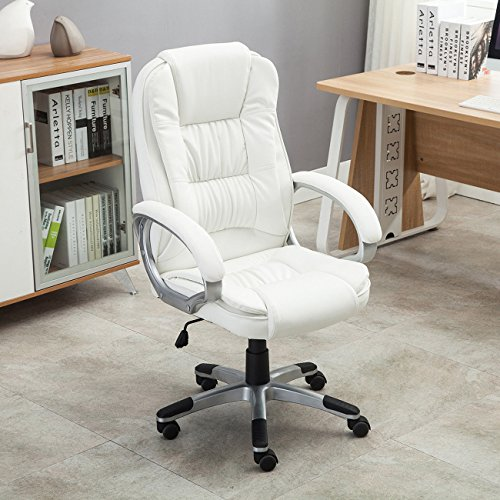 Eight24hours White PU Leather High Back Office Chair Executive Ergonomic Computer Desk Task + FREE E-Book