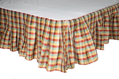 SLV Blue Red Gold Gingham Checks Faux Silk Invert Pleated Bed Skirt/dust Ruffles 18