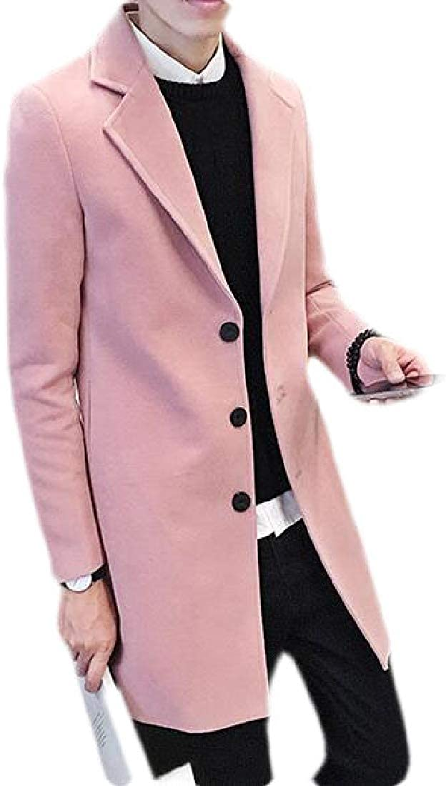 SHOWNO Mens Overcoat Winter Solid Single Breasted Pea Coat Jacket Outerwear