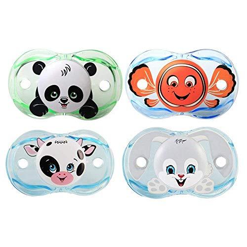 RazBaby Keep-It-Kleen Pacifiers: Panky Panda, Finley Clown Fish, Neeloo Cow, Ziggy Bunny