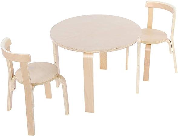 Tavolo In Legno Per Bambini Con Sedie.Greensen Set Composto Da Tavolo E 2 Sedie In Legno Massello Per