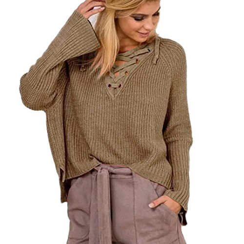 iTLOTL Women Long Sleeve Knit Long Top Sweater Knitting V-Neck Loose Casual Pullover(Khaki,US-12/CN-S)