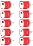Charger, Universal Portable USB Power Adapter Plug 1.0A Output [10-PACK] Easy-Grip Cube USB Charge for iPhone 8/7/6S/Plus, Samsung Galaxy, Android, HTC, Other Smartphones (Family Pack) (Red)