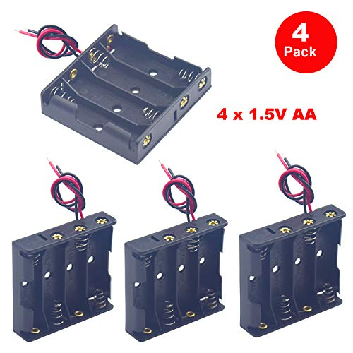 Yosawa 4-Pieces 4x1.5V(6V) AA Battery Holder Case,Black Plastic DIY Battery Storage Box with Red and Black Wire Leads(AA4