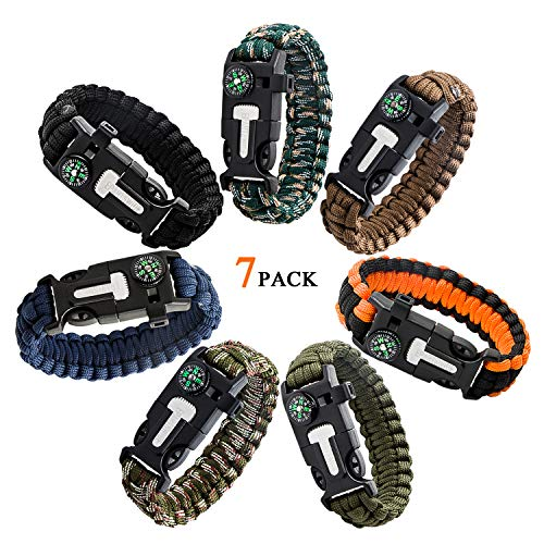 Epartswide Multifunctional Outdoor Survival Paracord Bracelet with Flint Fire Starter,Compass,Emergency Whistle&Knife/Scraper Pack of 7 -