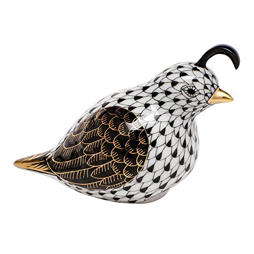 Herend California Quail Porcelain Figurine Black Fishnet for sale  Delivered anywhere in USA