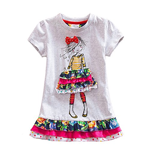 VIKITA Kids Girls Cotton Flower Dress Short Sleeve