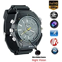Hidden Camera Wrist Watch HD 1080P Smart Watch with 16 GB Cameras Black Multifunctional Night Vision Glasses Waterproof Watch for Nanny Outdoor
