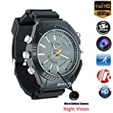 Micro Camera Wrist Watch HD 1080P Smart Watch with 16 GB Cameras Black Multifunctional Night Vision Glasses Waterproof Watch for Nanny Outdoor