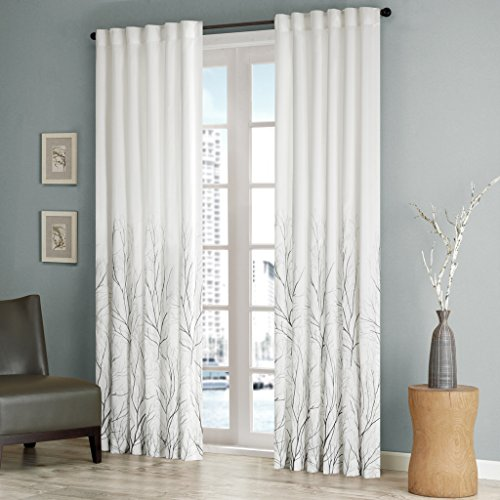 (White Curtains For Living room , Transitional Rod Pocket Curtains For Bedroom , Embroidered Andora Back Tab Fabric Window Curtains , 50X84