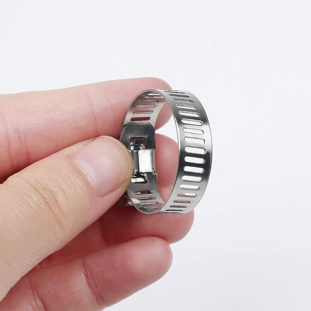 Etc 10Pcs Stainless Steel 304 Hose Clamp for Mini Hose Fastener for Fixing Water Pipes 16-18Mm