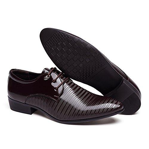 Zapatos De Vestir De Hombre Moderno Con Punta Estrecha En Forma De Lluvia De Rainlin Zapatos Oxford De Cordones Informales En Marrón Oscuro