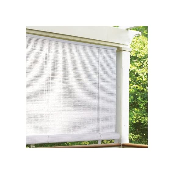 """Radiance 1/4"""" Oval Vinyl PVC Roll-Up Blinds in White - Additional limited-time savings reflected in current price Choose from available widths and lengths For indoor or outdoor use - shades-parasols, patio-furniture, patio - 51j4VpCmBiL. SS570  -"""