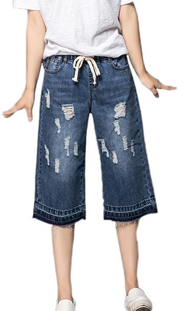 Pantalones cortos de mezclilla casuales de las mujeres ...