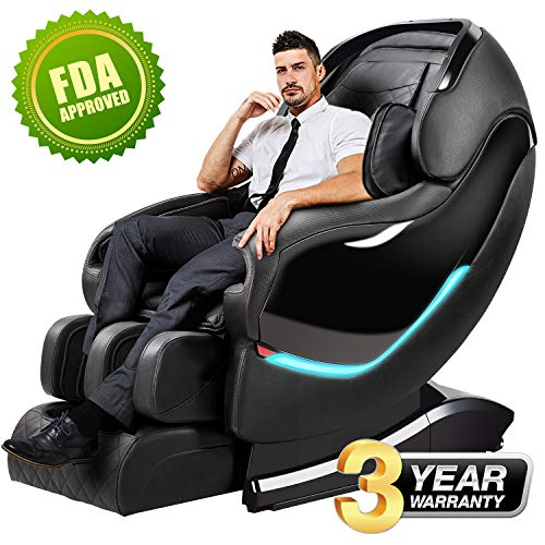 Massage Chair Recliner, SL-Track Zero Gravity, Full Body Shiatsu Electric Massage Chair with Tapping, Heating,Stretching, Swedish Massage Back and Foot Massagers (Black)