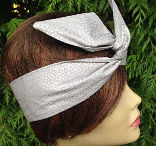 (Matte Platinum woth Silver Specks Wired Dolly Bow Wire Headband Rockabilly Wire Scarf - Bandana)