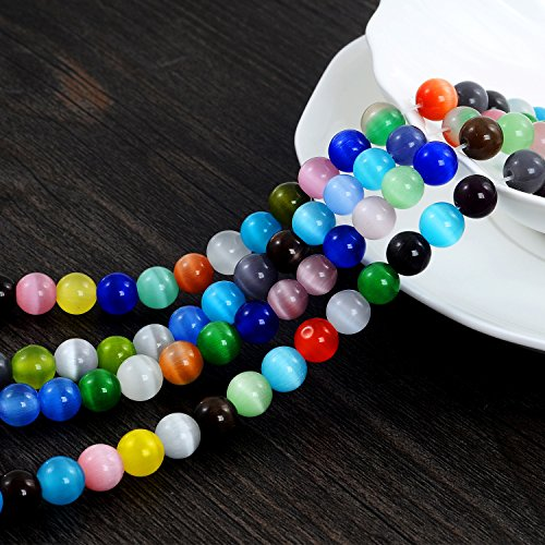 Eye Gemstone Bracelet Cat (YUEAON 100PCS 8mm natural Gemstone Beads round Cat's Eye loose stone beads for jewelry making diy bracelets neckalce wholesale-bulk lots-30 inches strand-colorful-polished)